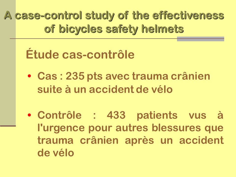 A case-control study of the effectiveness of bicycles safety helmets