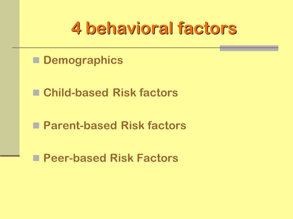 4 behavioral factors Demographics Child-based Risk factors