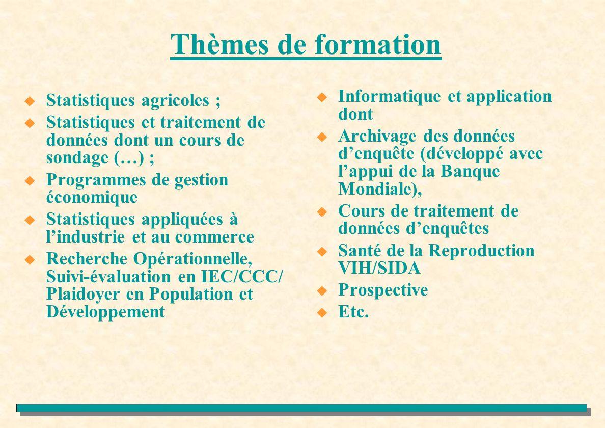 Thèmes de formation Informatique et application dont