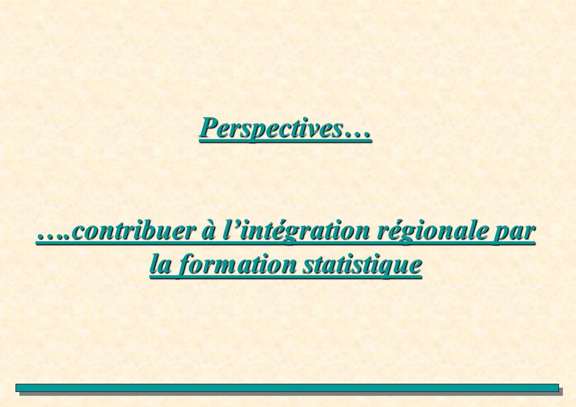 Perspectives… ….contribuer à l'intégration régionale par la formation statistique