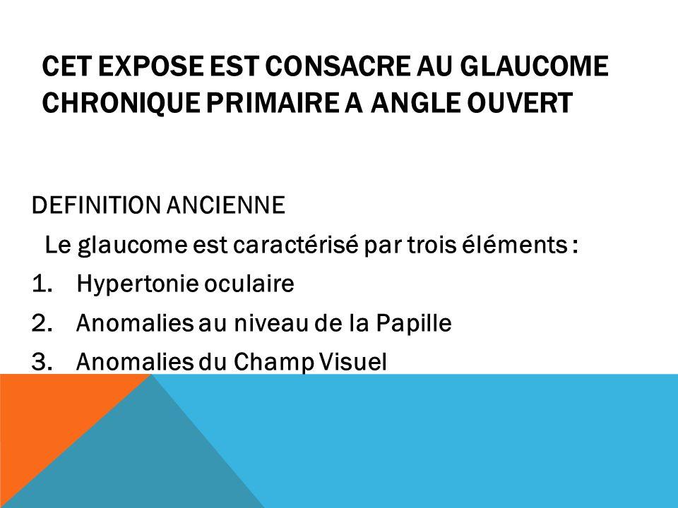 CET EXPOSE EST CONSACRE AU GLAUCOME CHRONIQUE PRIMAIRE A ANGLE OUVERT