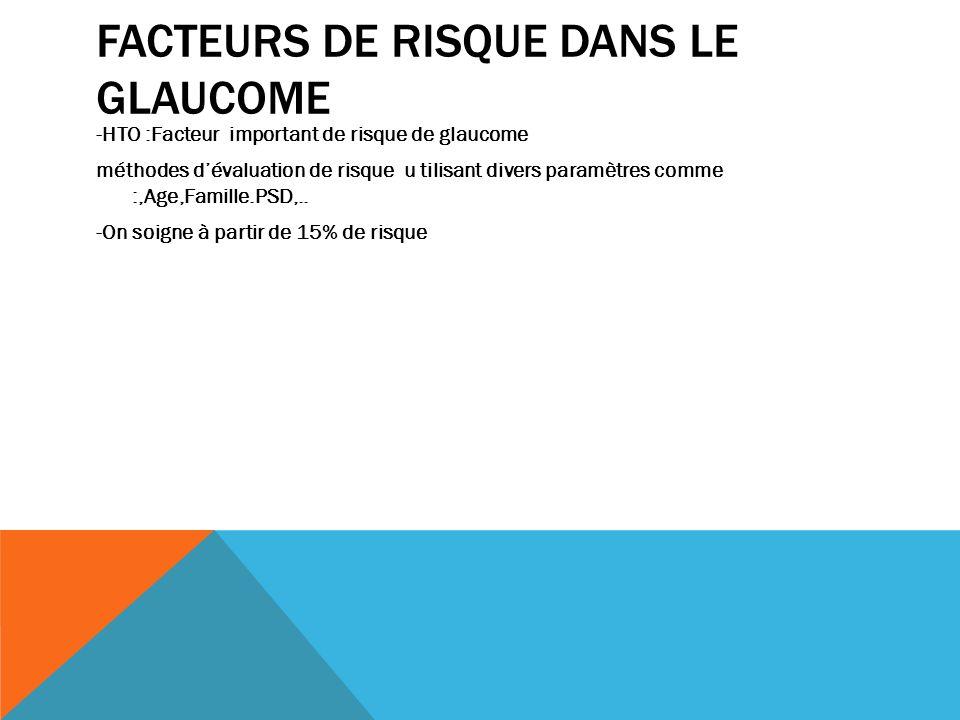 FACTEURS DE RISQUE DANS LE GLAUCOME