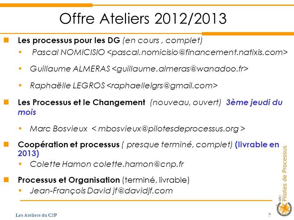 Offre Ateliers 2012/2013 Les processus pour les DG (en cours , complet) Pascal NOMICISIO <pascal.nomicisio@financement.natixis.com>