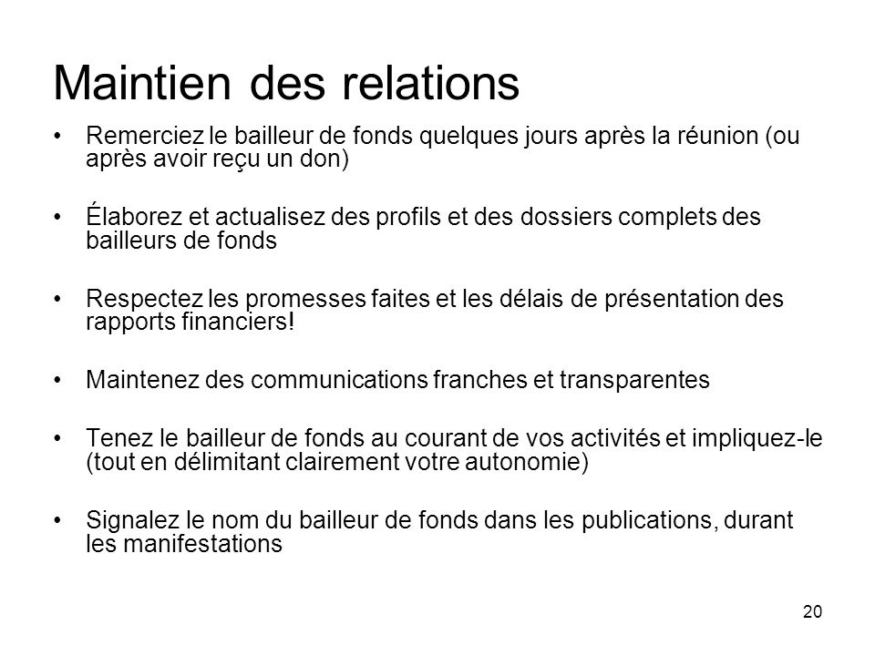 Maintien des relations