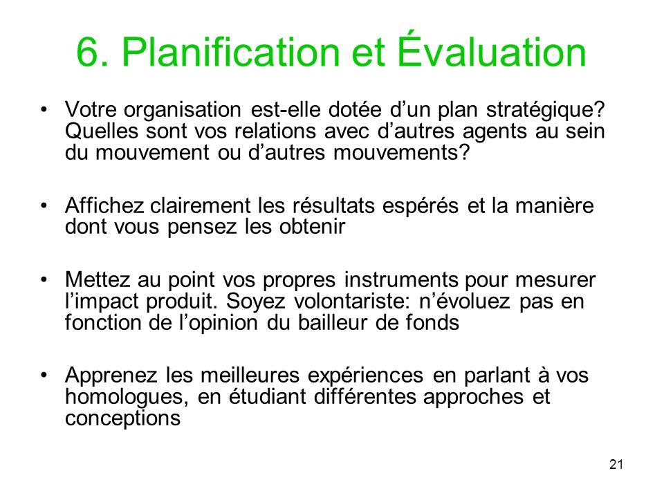 6. Planification et Évaluation