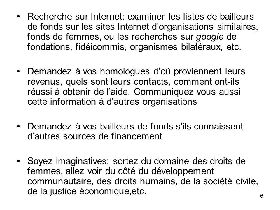 Recherche sur Internet: examiner les listes de bailleurs de fonds sur les sites Internet d'organisations similaires, fonds de femmes, ou les recherches sur google de fondations, fidéicommis, organismes bilatéraux, etc.