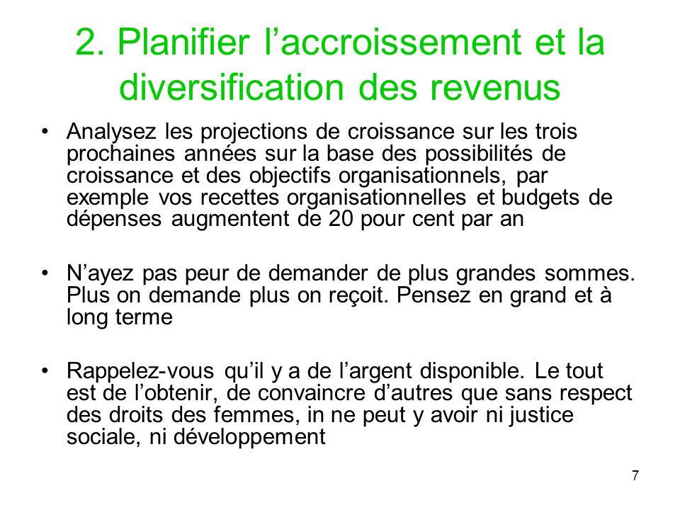 2. Planifier l'accroissement et la diversification des revenus