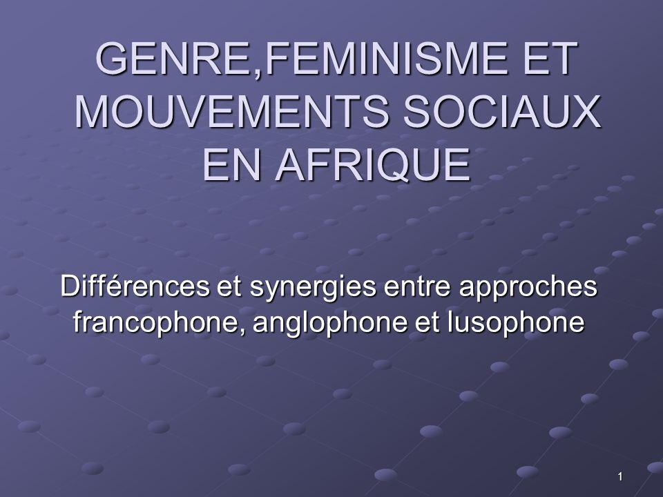 GENRE,FEMINISME ET MOUVEMENTS SOCIAUX EN AFRIQUE
