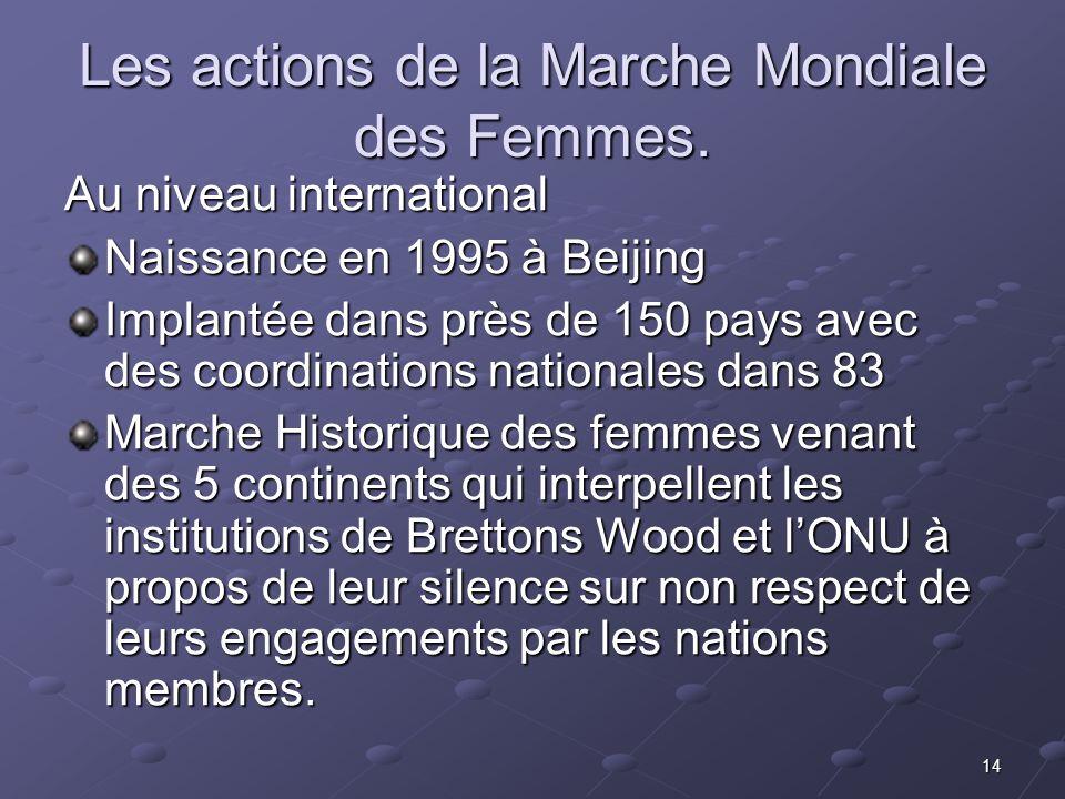 Les actions de la Marche Mondiale des Femmes.