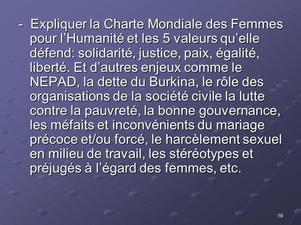 - Expliquer la Charte Mondiale des Femmes pour l'Humanité et les 5 valeurs qu'elle défend: solidarité, justice, paix, égalité, liberté.