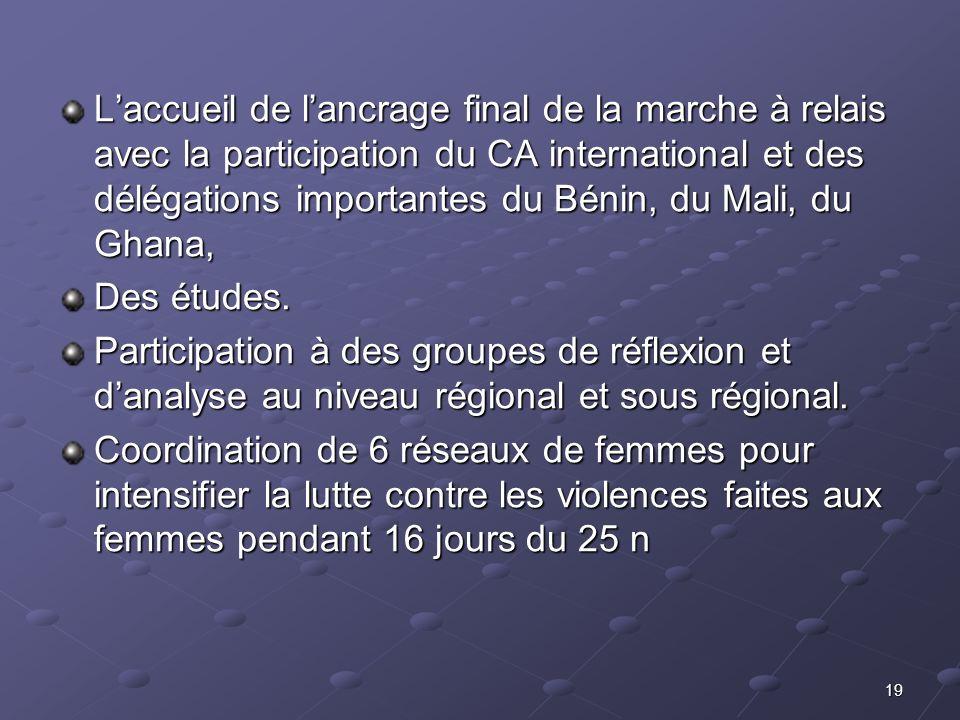 L'accueil de l'ancrage final de la marche à relais avec la participation du CA international et des délégations importantes du Bénin, du Mali, du Ghana,