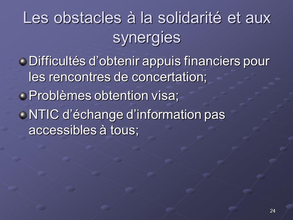 Les obstacles à la solidarité et aux synergies