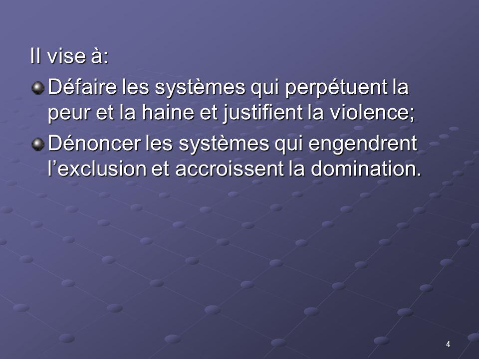 II vise à:Défaire les systèmes qui perpétuent la peur et la haine et justifient la violence;
