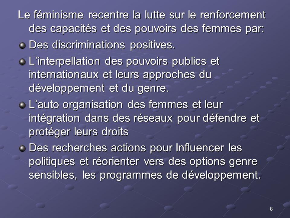 Le féminisme recentre la lutte sur le renforcement des capacités et des pouvoirs des femmes par: