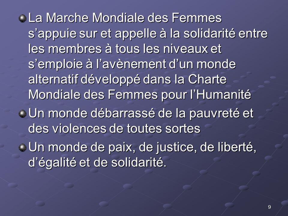 La Marche Mondiale des Femmes s'appuie sur et appelle à la solidarité entre les membres à tous les niveaux et s'emploie à l'avènement d'un monde alternatif développé dans la Charte Mondiale des Femmes pour l'Humanité