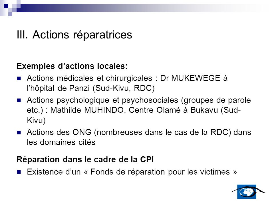 III. Actions réparatrices