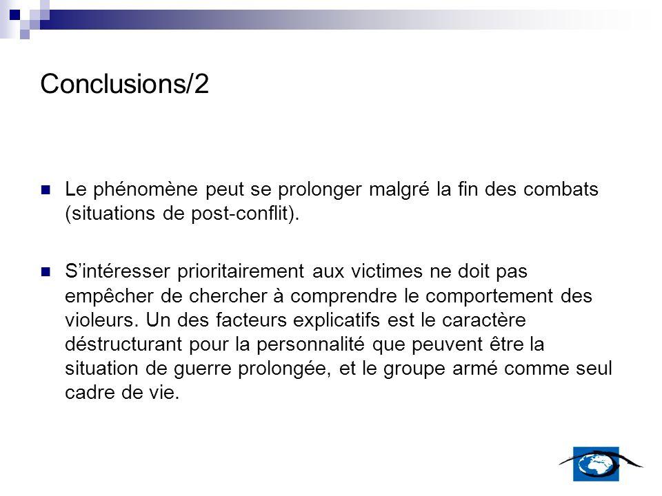 Conclusions/2 Le phénomène peut se prolonger malgré la fin des combats (situations de post-conflit).