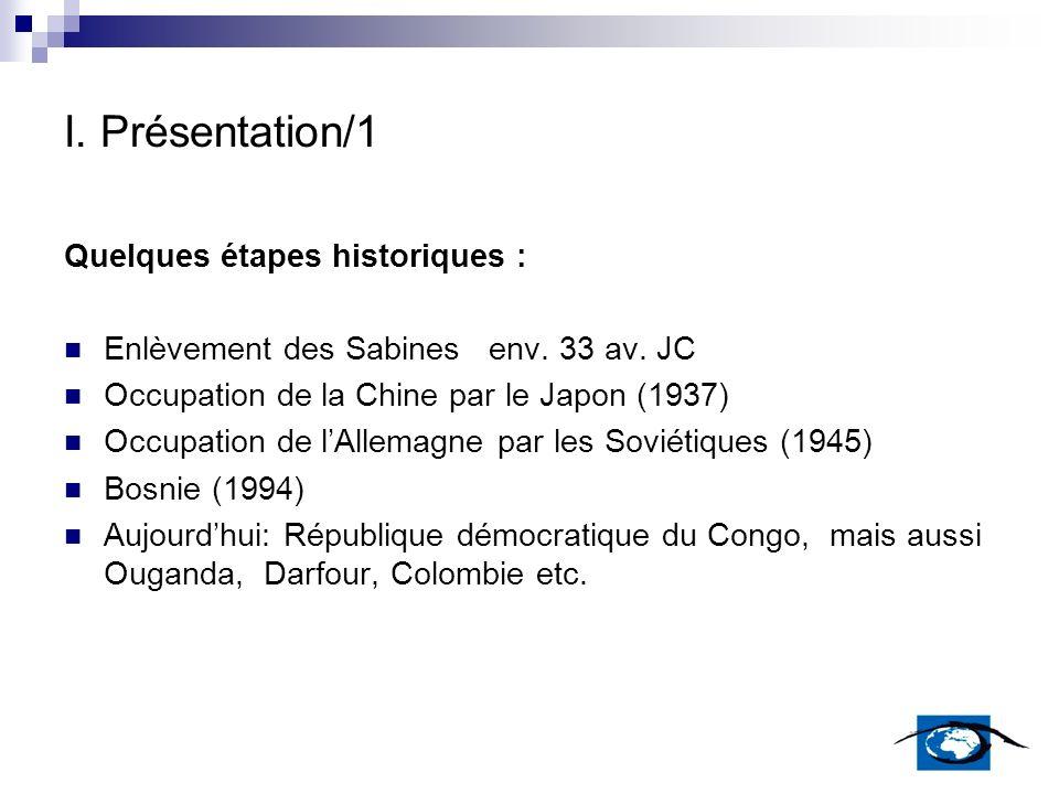 I. Présentation/1 Quelques étapes historiques :