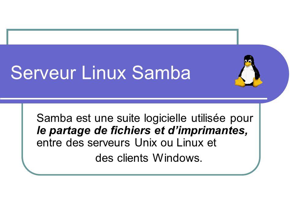 Serveur Linux Samba Samba est une suite logicielle utilisée pour le partage de fichiers et d'imprimantes, entre des serveurs Unix ou Linux et.