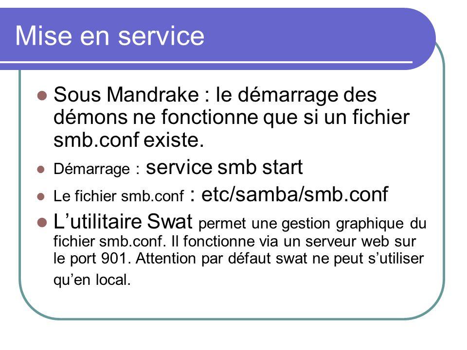 Mise en serviceSous Mandrake : le démarrage des démons ne fonctionne que si un fichier smb.conf existe.
