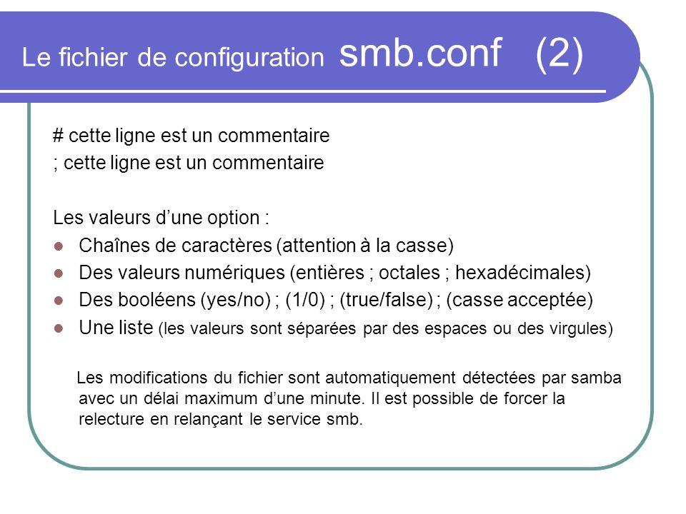 Le fichier de configuration smb.conf (2)