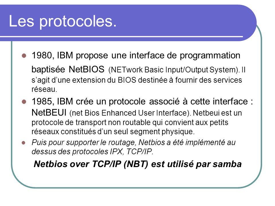 Netbios over TCP/IP (NBT) est utilisé par samba