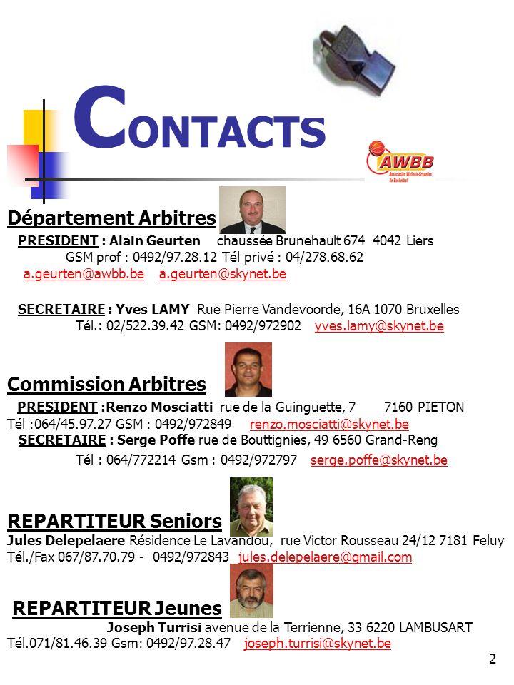 CONTACTS Département Arbitres Commission Arbitres REPARTITEUR Seniors