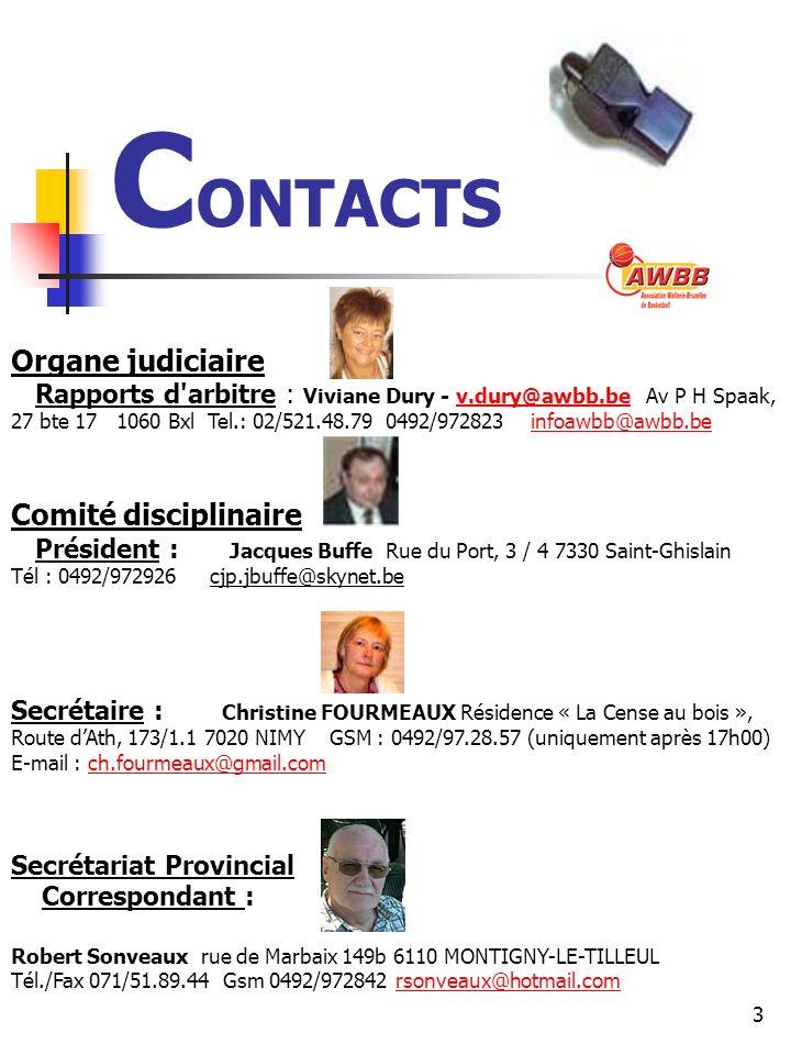 CONTACTS Organe judiciaire Comité disciplinaire