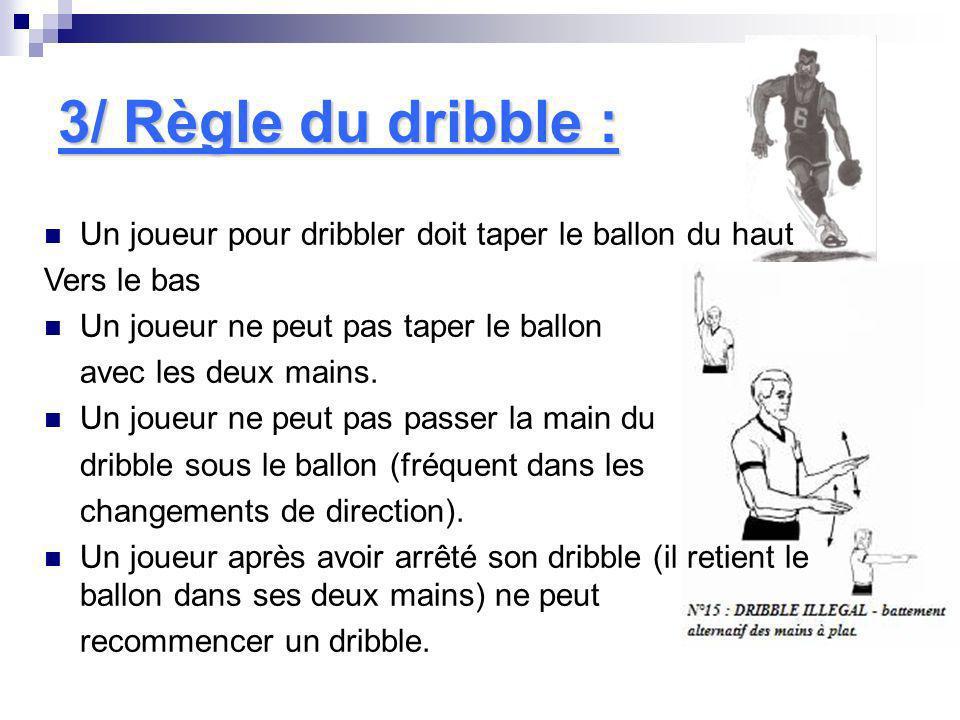 3/ Règle du dribble :Un joueur pour dribbler doit taper le ballon du haut. Vers le bas. Un joueur ne peut pas taper le ballon.
