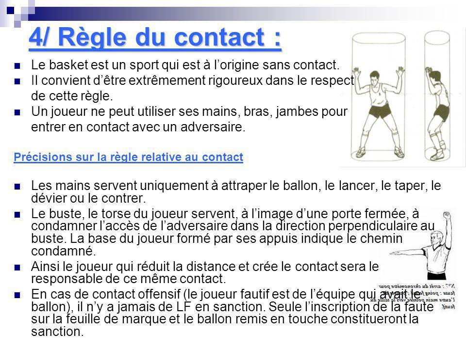 4/ Règle du contact :Le basket est un sport qui est à l'origine sans contact. Il convient d'être extrêmement rigoureux dans le respect.
