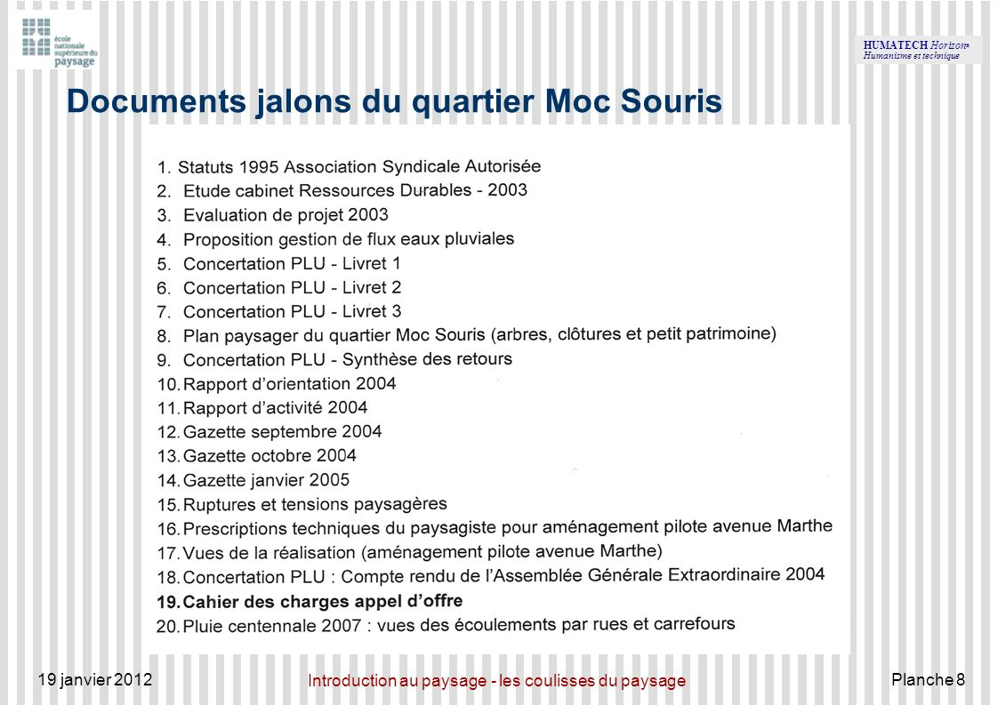 Documents jalons du quartier Moc Souris