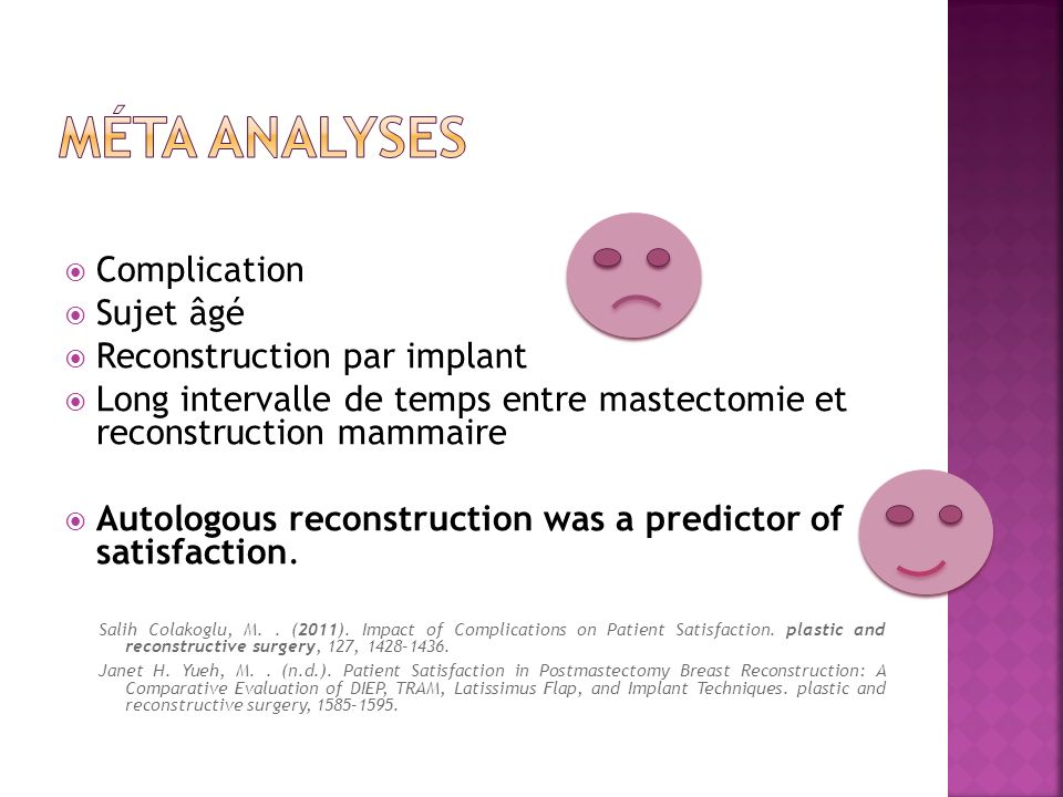 Méta analyses Complication Sujet âgé Reconstruction par implant