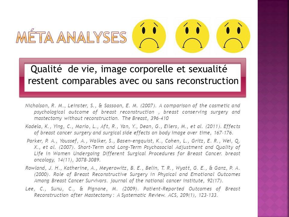 Méta analyses Qualité de vie, image corporelle et sexualité restent comparables avec ou sans reconstruction.