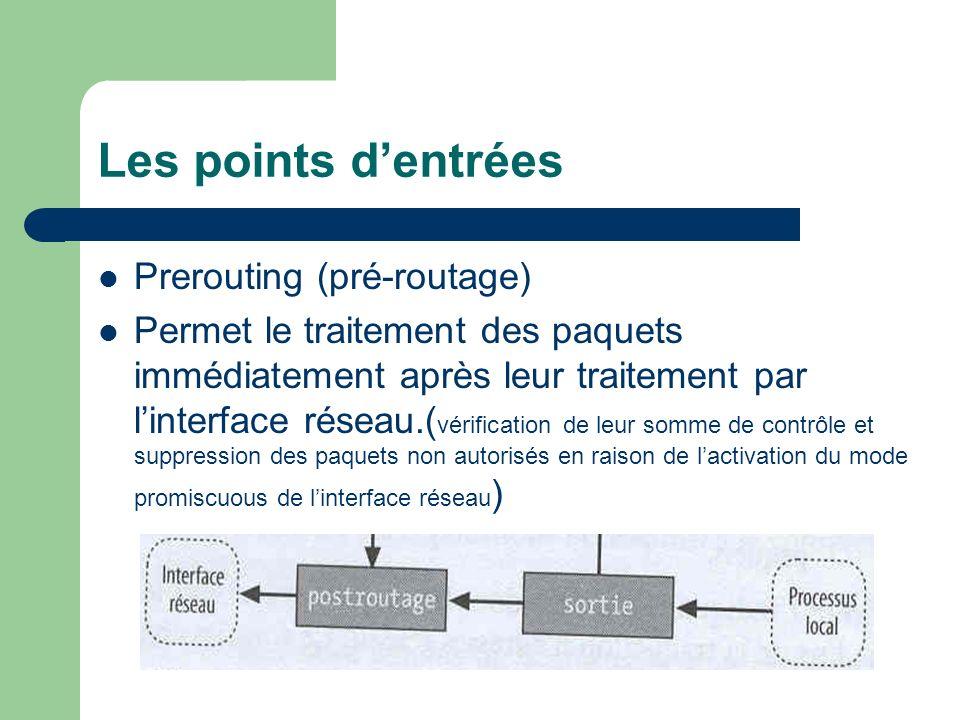 Les points d'entrées Prerouting (pré-routage)