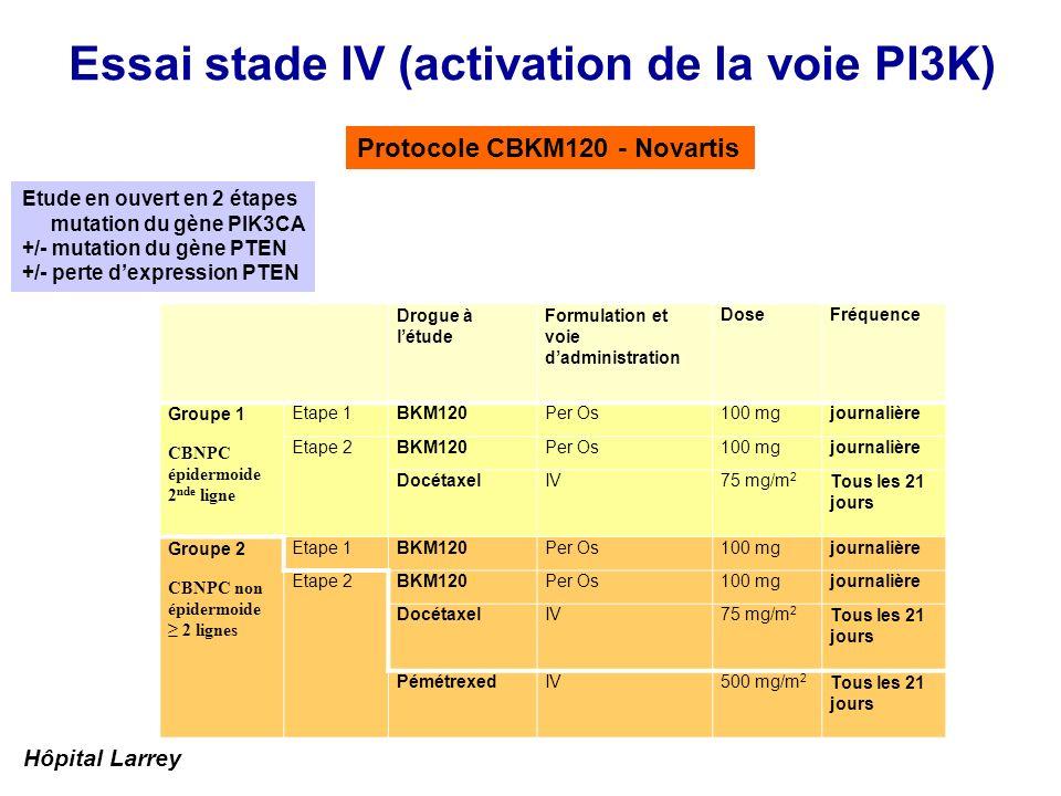 Essai stade IV (activation de la voie PI3K)
