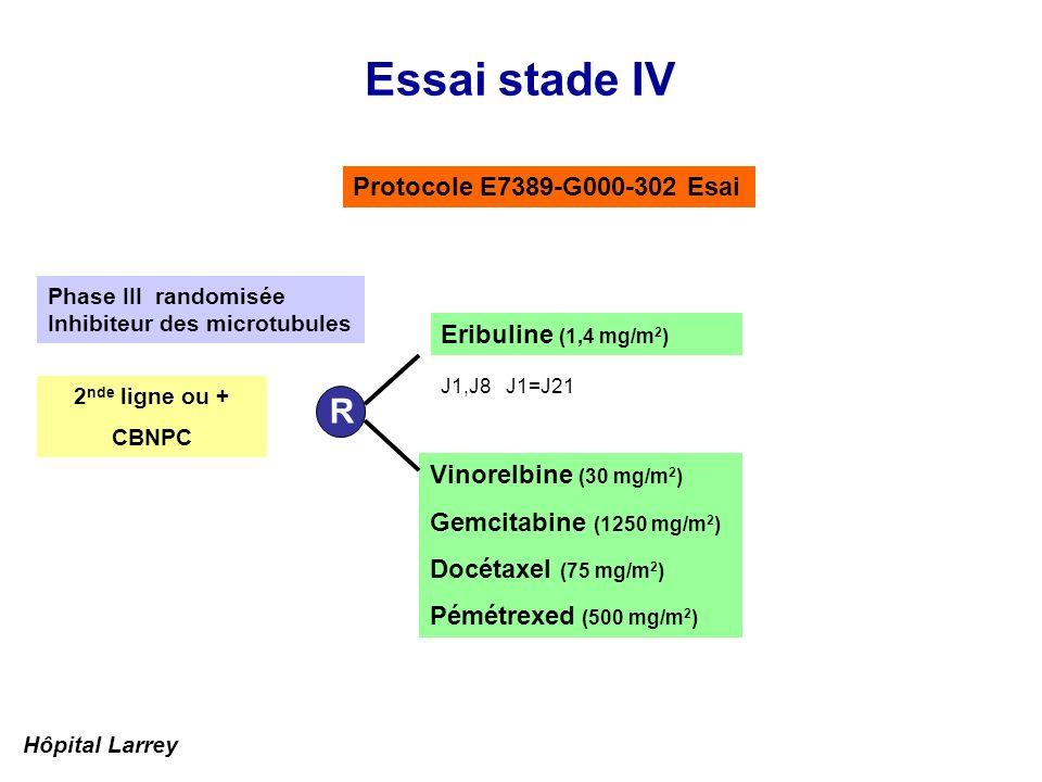 Essai stade IV R Protocole E7389-G000-302 Esai Eribuline (1,4 mg/m2)