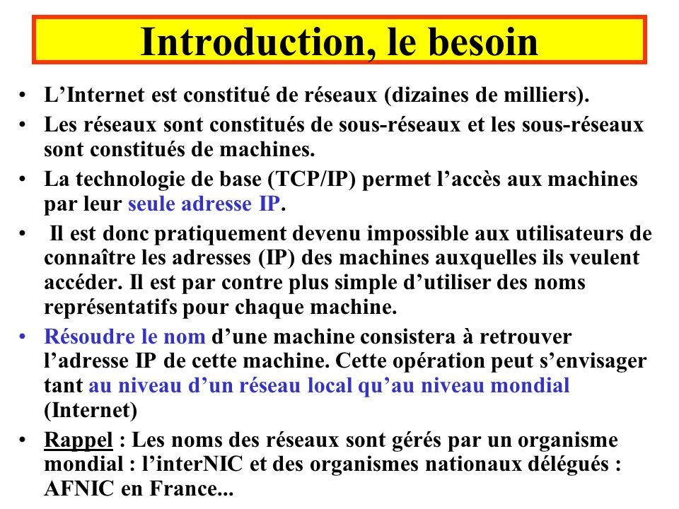 Introduction, le besoin
