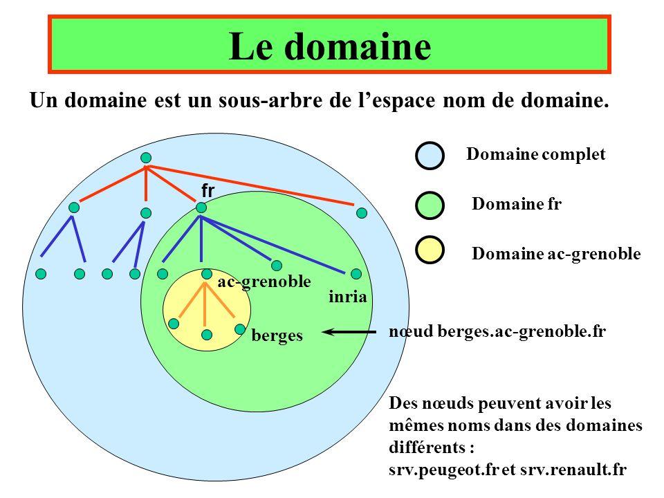 Le domaine Un domaine est un sous-arbre de l'espace nom de domaine.