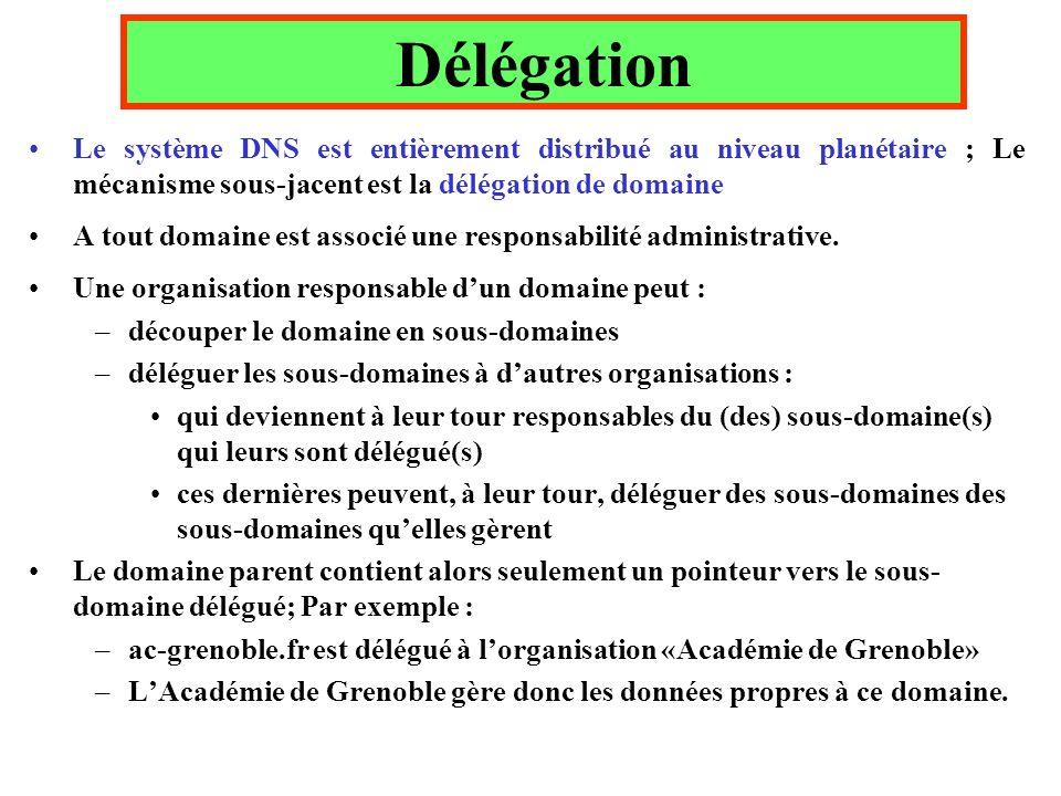 Délégation Le système DNS est entièrement distribué au niveau planétaire ; Le mécanisme sous-jacent est la délégation de domaine.