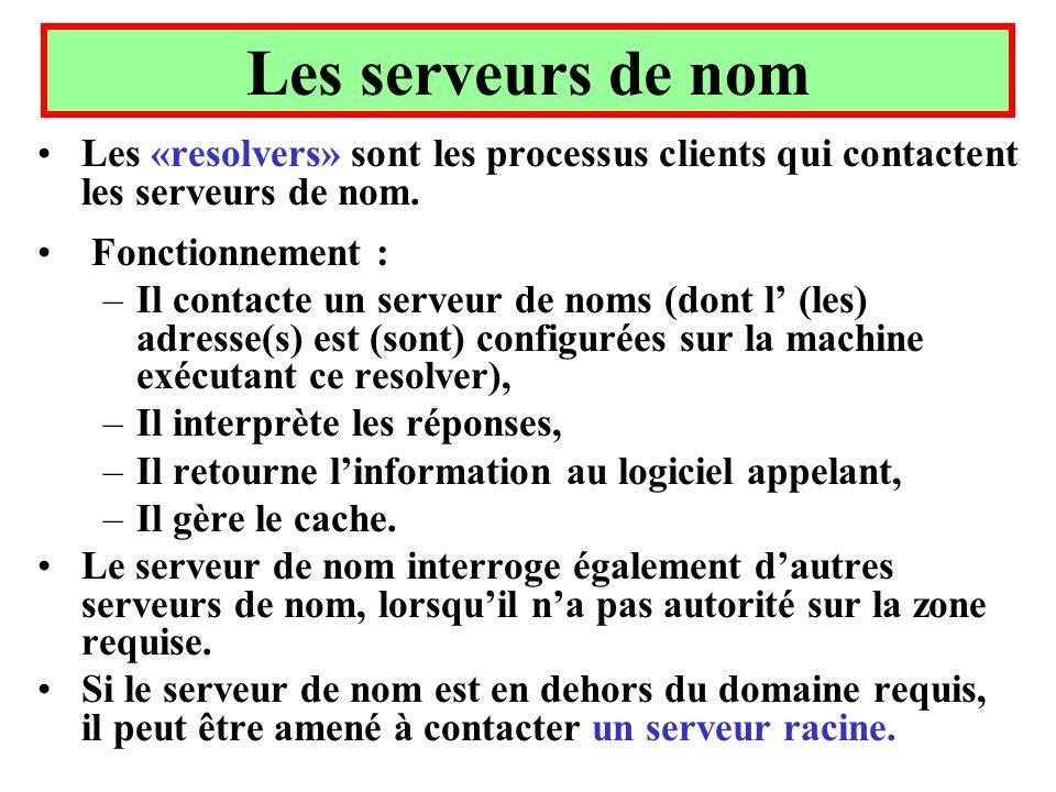 Les serveurs de nom Les «resolvers» sont les processus clients qui contactent les serveurs de nom. Fonctionnement :