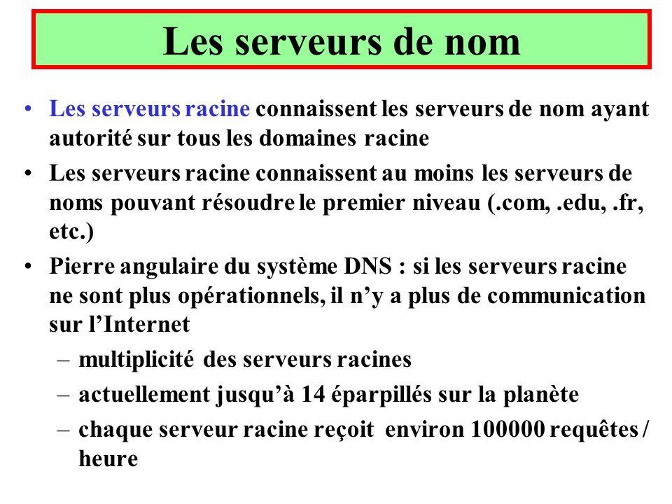 Les serveurs de nom Les serveurs racine connaissent les serveurs de nom ayant autorité sur tous les domaines racine.