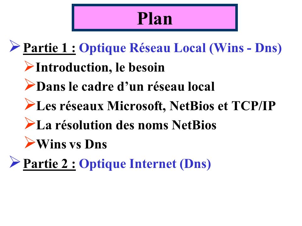 Plan Partie 1 : Optique Réseau Local (Wins - Dns)