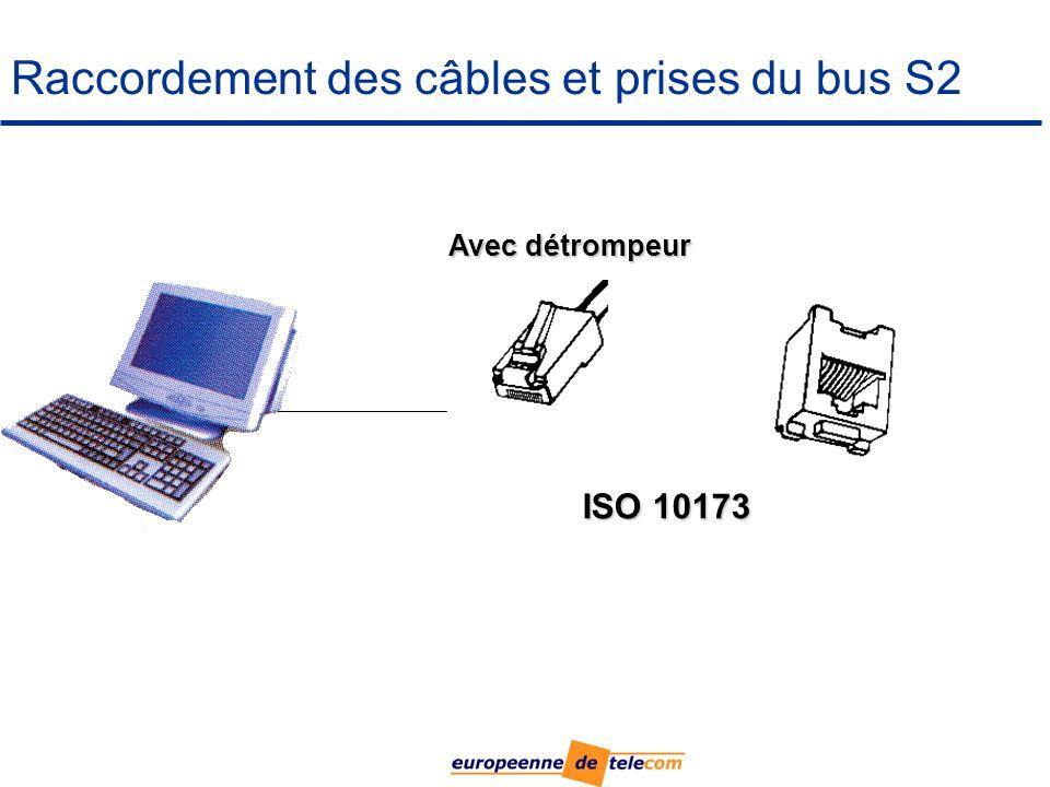 Raccordement des câbles et prises du bus S2