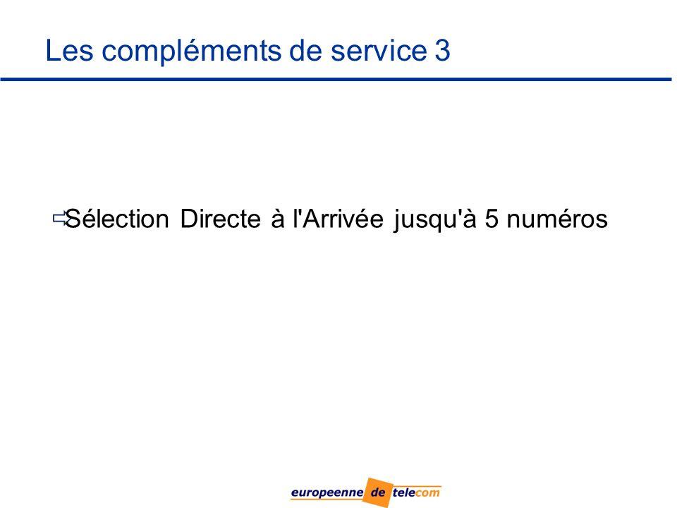 Les compléments de service 3