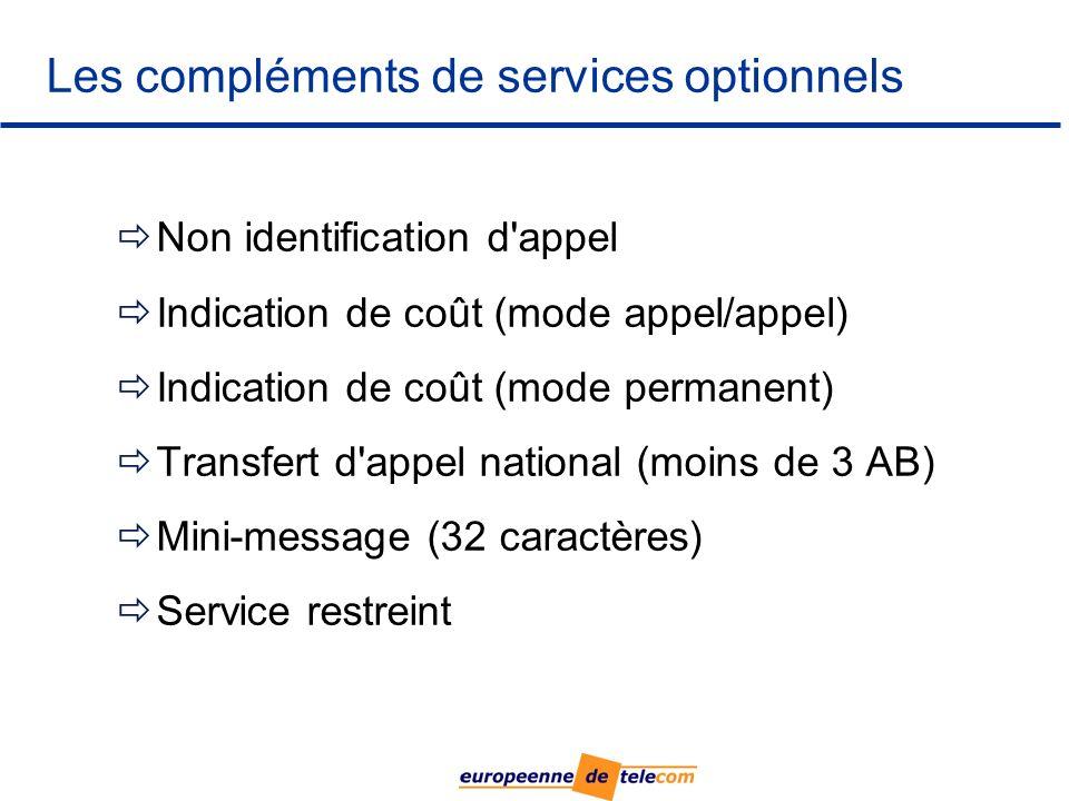 Les compléments de services optionnels