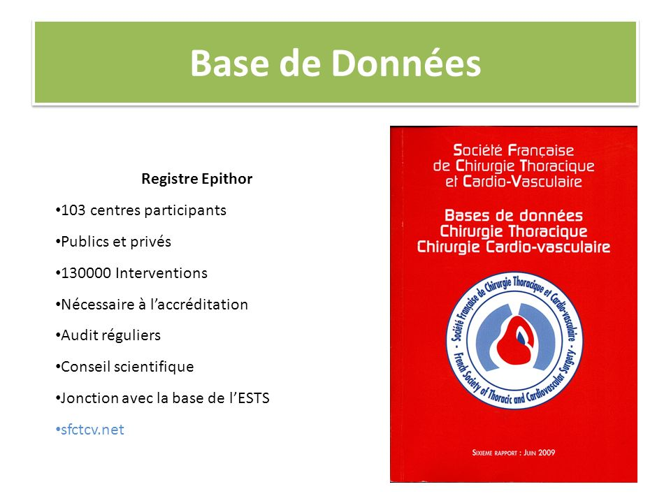 Base de Données Registre Epithor 103 centres participants