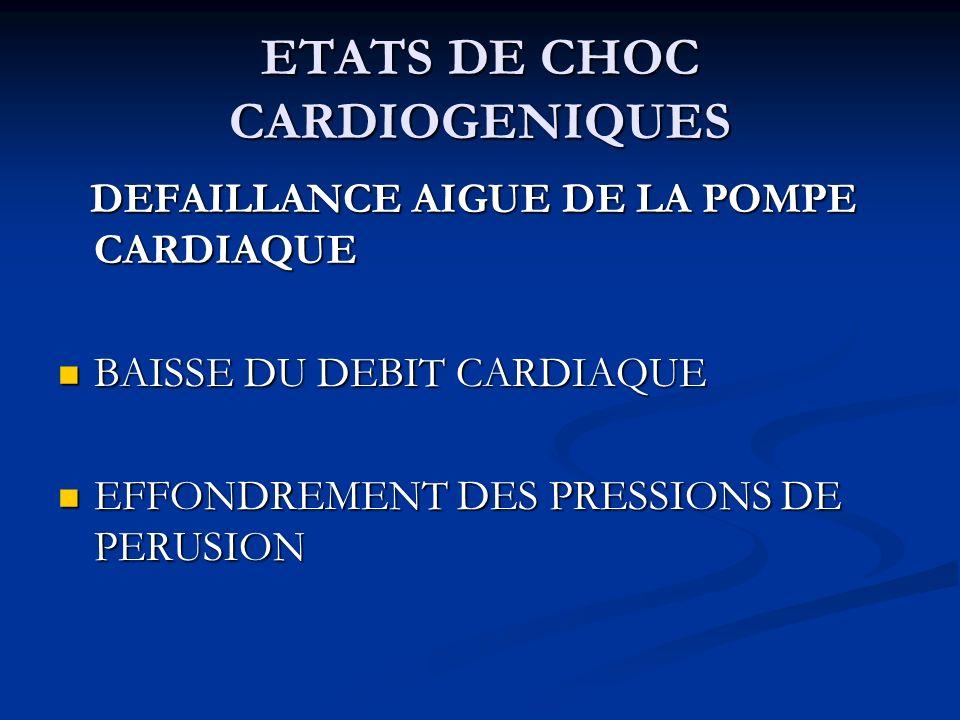 ETATS DE CHOC CARDIOGENIQUES