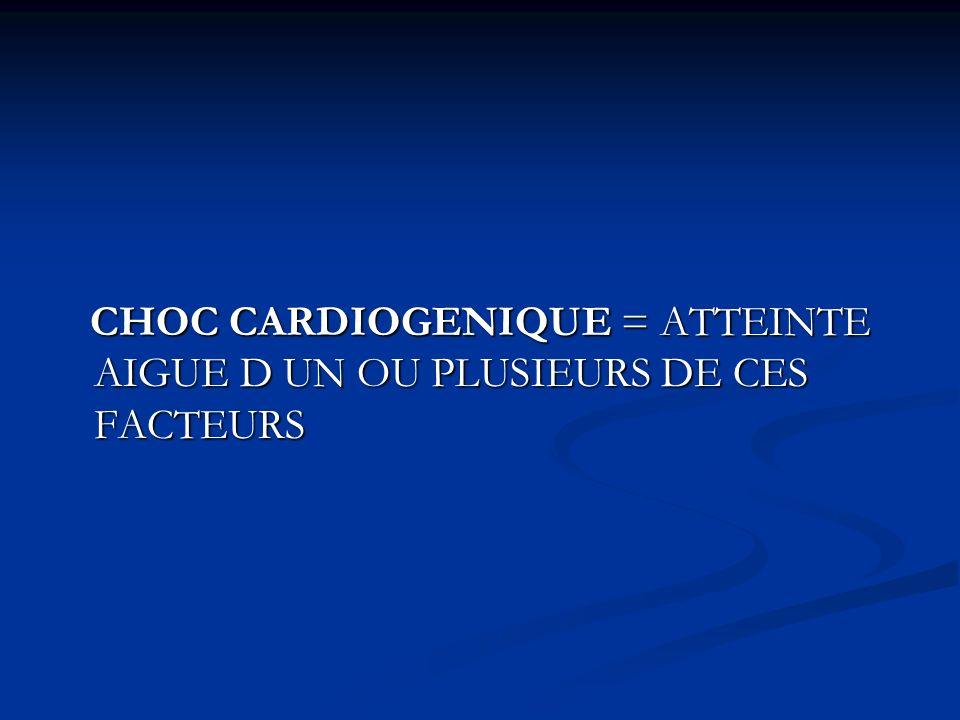 CHOC CARDIOGENIQUE = ATTEINTE AIGUE D UN OU PLUSIEURS DE CES FACTEURS