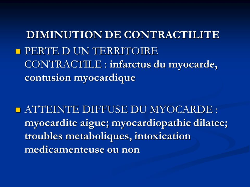 DIMINUTION DE CONTRACTILITE