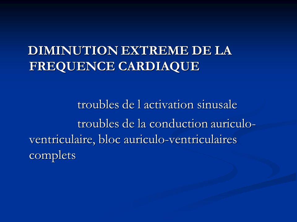 DIMINUTION EXTREME DE LA FREQUENCE CARDIAQUE